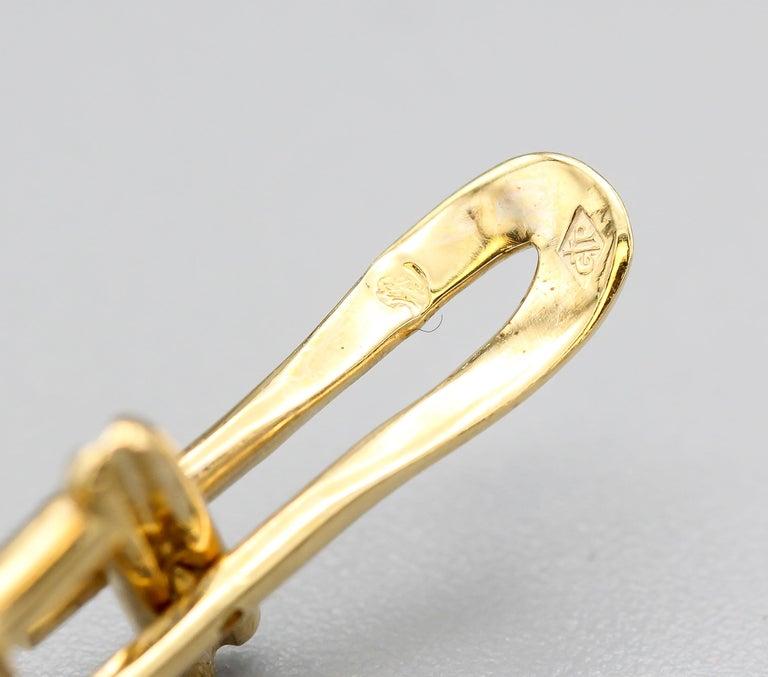 French 18 Karat Gold and Enamel Knot Cufflink Stud Set For Sale 2