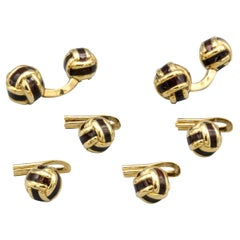 French 18 Karat Gold and Enamel Knot Cufflink Stud Set