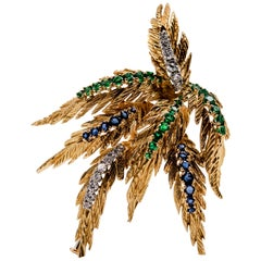 French 18 Karat Gold Diamond Emerald Sapphire Spray Pin