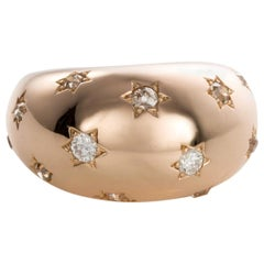French 18 Karat Gold Diamond Starburst Bombe Dress Ring