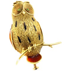 French 18 Karat Gold Enamel Owl Brooch