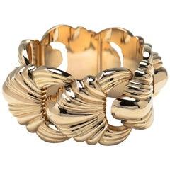 French 18 Karat Gold Highly Stylized Cuff Bracelet