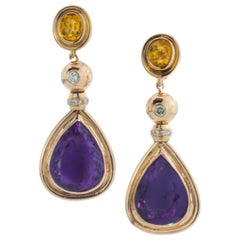 French 18 Karat Gold Ladies Amethyst, Diamond and Citrine Clip-On Earrings