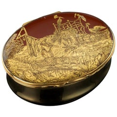 French 18-Karat Gold-Mounted and Japanese Lacquer Snuff Box, circa 1840