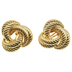 French 18 Karat Gold Twisted Ear Clips