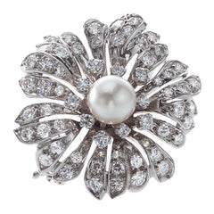 French 18 Karat White Gold Brooch with Cultured Freshwater Pearl and Diamonds