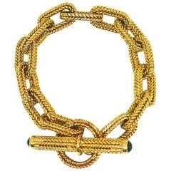 French 18 Karat Yellow Braided Gold Chain Sapphire Bracelet