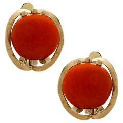 French 18 Karat Yellow Gold and Coral Earrings