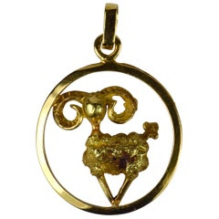 French 18 Karat Yellow Gold Ares Zodiac Charm Pendant