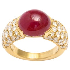 French 18 Karat Yellow Gold Cabochon No Heat Ruby and Pave Diamond Ring