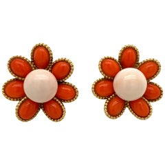 French 18 Karat Yellow Gold Coral Flower Stud Earrings