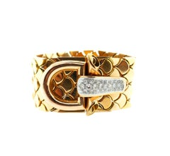 French 18 Karat Yellow Gold Diamond Buckle Bracelet
