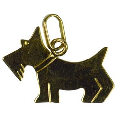 French 18 Karat Yellow Gold Dog Terrier Scottie Charm Pendant