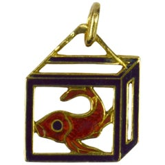 French 18 Karat Yellow Gold Enamel Koi Carp Charm Pendant