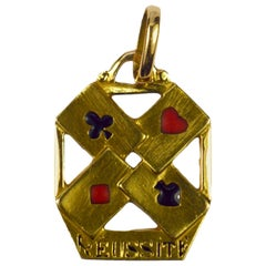 French 18 Karat Yellow Gold Enamel 'Reussite' Aces Gambling Cards Charm Pendant