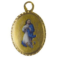 French 18 Karat Yellow Gold Enamel Virgin Mary Charm Pendant