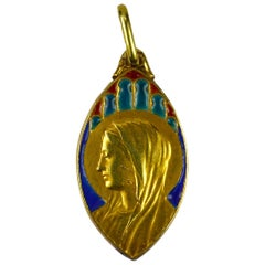 French 18 Karat Yellow Gold Enamel Virgin Mary Navette Charm Pendant