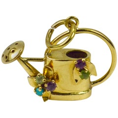 French 18 Karat Yellow Gold Gem Set Watering Can Charm Pendant