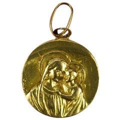 French 18 Karat Yellow Gold Jesus Madonna Devotional Medal Charm Pendant