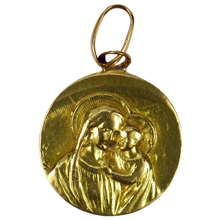 French 18 Karat Yellow Gold Jesus Madonna Devotional Medal Charm Pendant
