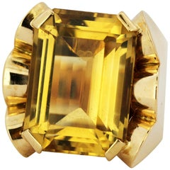 French 18 Karat Yellow Gold Ladies Dome Ring with Natural Citrine