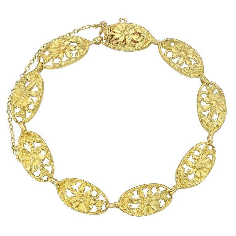 Women's French 18 Karat Yellow Gold Link Bracelet