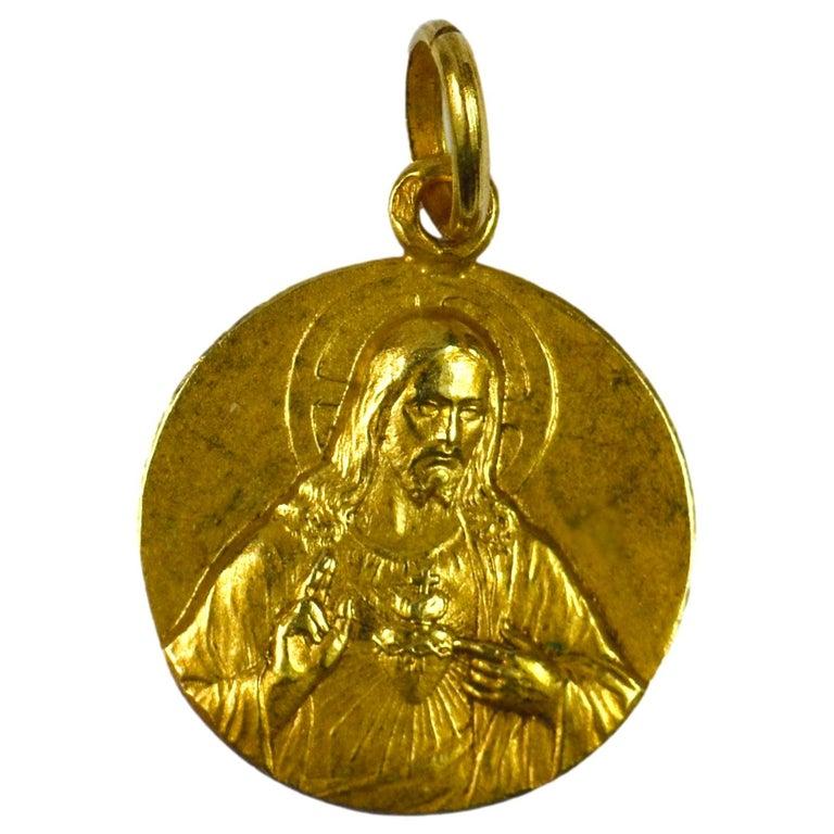 French 18 Karat Yellow Gold Montmartre Sacred Heart Charm Pendant