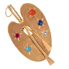 French 18 Karat Yellow Gold Painter's Palette Charm with Paste Stones