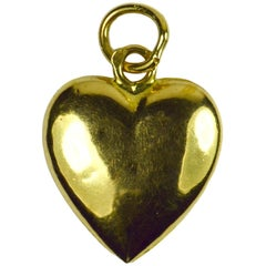 French 18 Karat Yellow Gold Puffy Heart Charm Pendant
