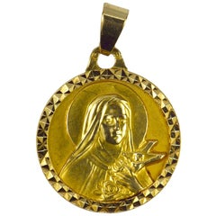 French 18 Karat Yellow Gold Saint Therese Charm Pendant