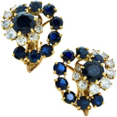 French 18 Karat Yellow Gold Sapphire and Diamond Earrings