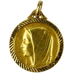 French 18 Karat Yellow Gold Virgin Mary Charm Pendant Medal
