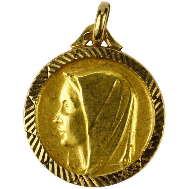 French 18 Karat Yellow Gold Virgin Mary Charm Pendant Medal For Sale