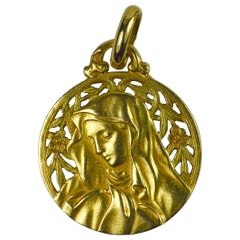 French 18 Karat Yellow Gold Virgin Mary Flowers Medal Charm Pendant