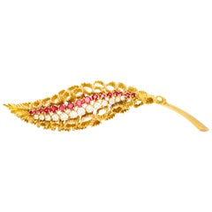 French 18 Karat Yellow Gold with Ruby and Diamond Brooch