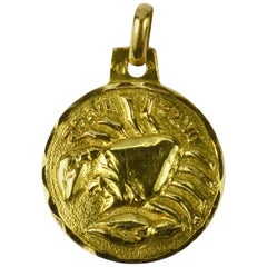 French 18 Karat Yellow Gold Zodiac Cancer Charm Pendant