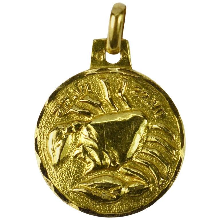 French 18 Karat Yellow Gold Zodiac Cancer Charm Pendant For Sale
