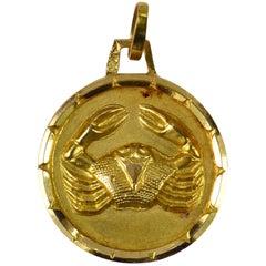 French 18 Karat Yellow Gold Zodiac Cancer Crab Charm Pendant