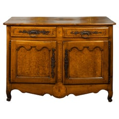 French 1800s Buffet with Two Drawers, Two Doors, Burl Panels and Cross Banding