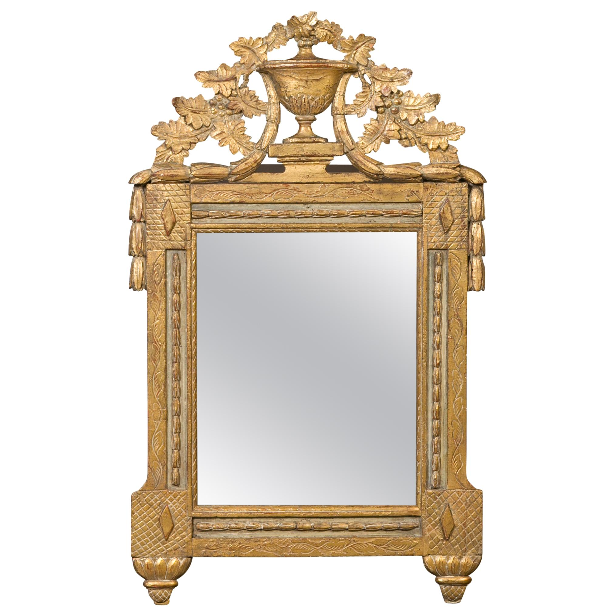 French 1800s Giltwood Crested Mirror with Carved Foliage, Urn and Garland