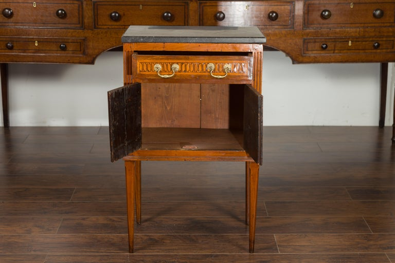 French 1800s Neoclassical Period Walnut Table with Marquetry and Grey Marble Top For Sale 7
