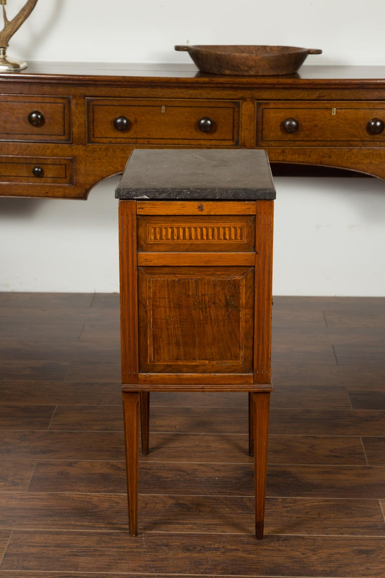 French 1800s Neoclassical Period Walnut Table with Marquetry and Grey Marble Top For Sale 9
