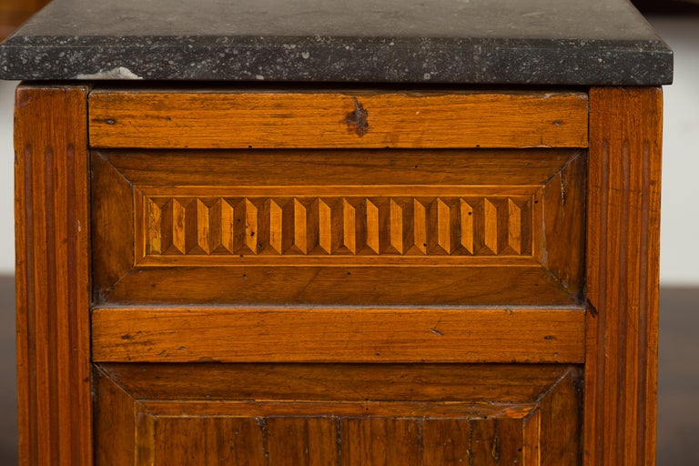 French 1800s Neoclassical Period Walnut Table with Marquetry and Grey Marble Top For Sale 10