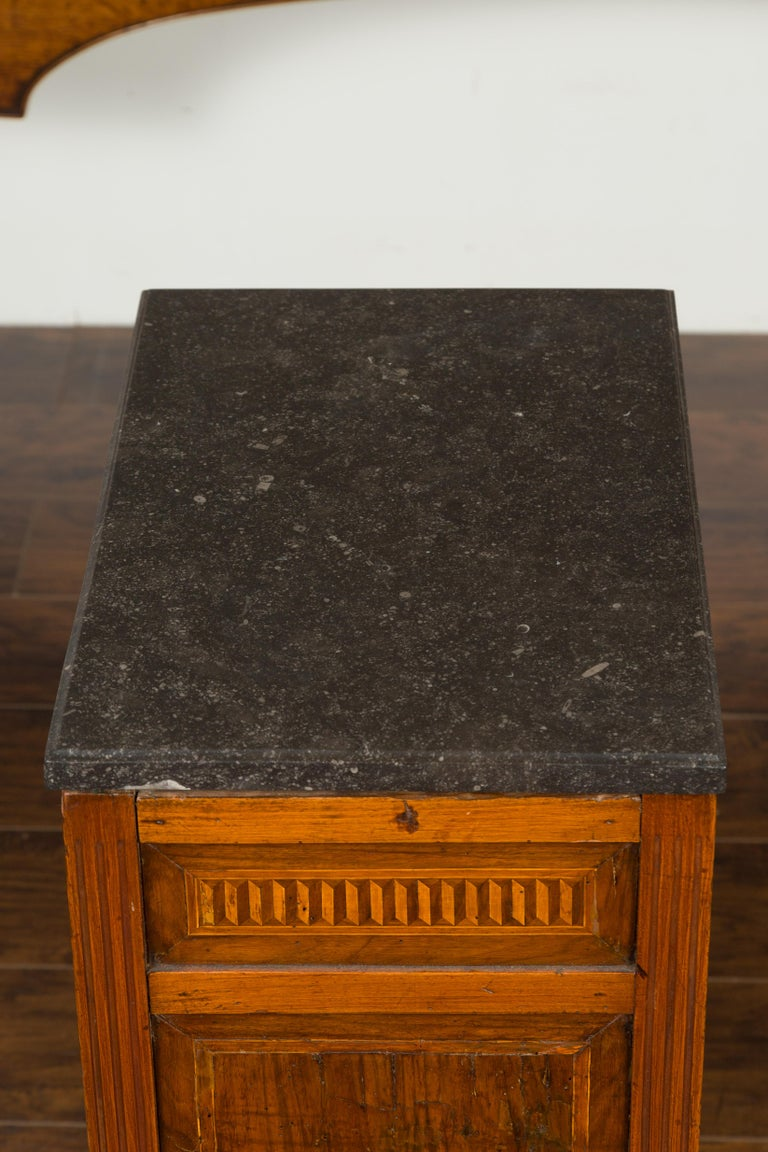 French 1800s Neoclassical Period Walnut Table with Marquetry and Grey Marble Top For Sale 11