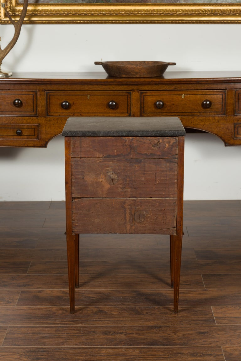 French 1800s Neoclassical Period Walnut Table with Marquetry and Grey Marble Top For Sale 12