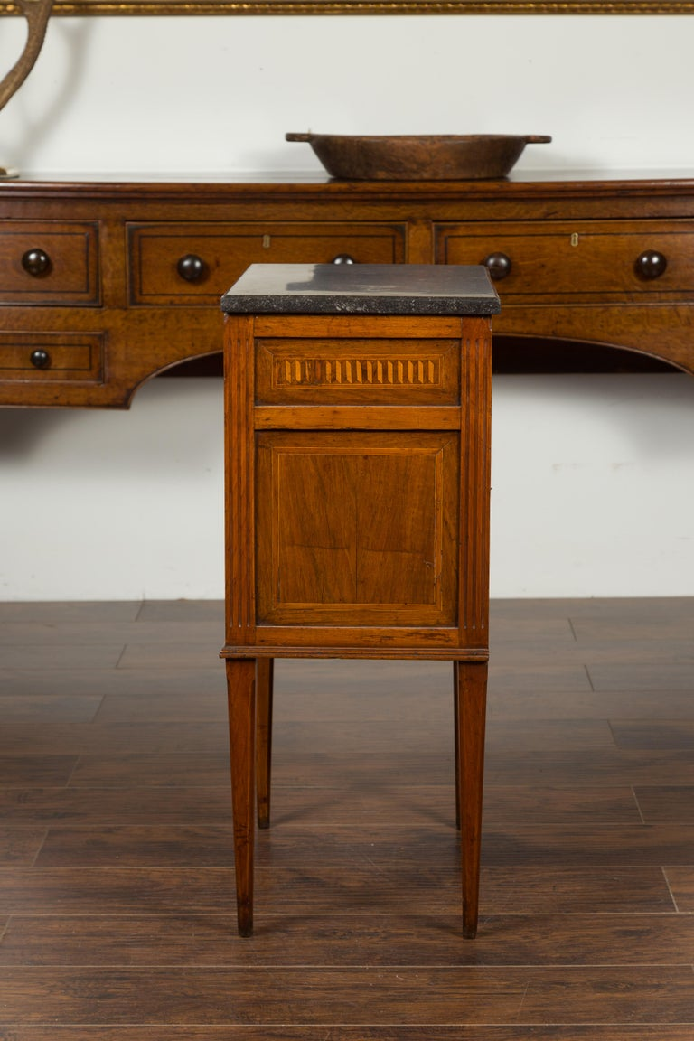 French 1800s Neoclassical Period Walnut Table with Marquetry and Grey Marble Top For Sale 13