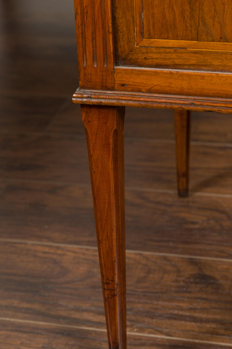 French 1800s Neoclassical Period Walnut Table with Marquetry and Grey Marble Top For Sale 14