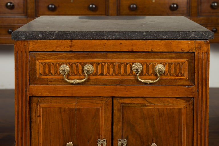 19th Century French 1800s Neoclassical Period Walnut Table with Marquetry and Grey Marble Top For Sale