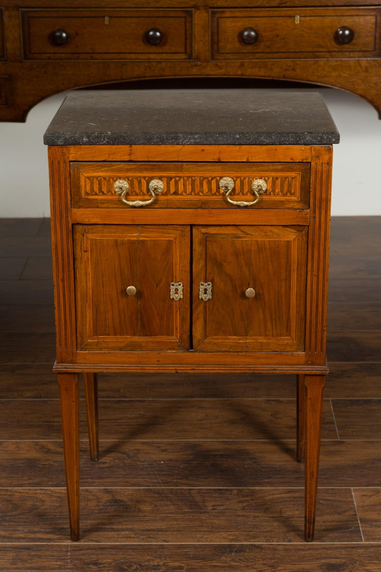 French 1800s Neoclassical Period Walnut Table with Marquetry and Grey Marble Top For Sale 4