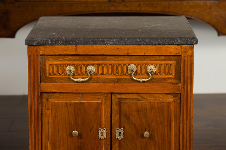 French 1800s Neoclassical Period Walnut Table with Marquetry and Grey Marble Top For Sale 5